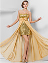 Sheath / Column Strapless Sweetheart Floor Length Asymmetrical Chiffon Sequined Prom Formal Evening Dress with Flower Ruched Split Front