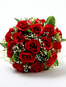 "Flori de Nuntă Rotund Trandafiri Buchete Nuntă Satin Bumbac Roșu 9.84""(Approx.25cm)"