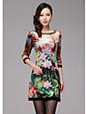 high end rochie de imprimare femei lotus cu guler cu margele