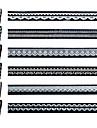 6PCS 3D Vit Lång Lace Nail stickers Bildkonst