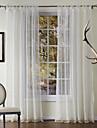 Stångficka Hyls-topp Hällor topp Dubbel veckad Två paneler Fönster Behandling Nyklassisistisk , Broderi Enfärgad Polyester Material Skira