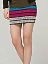 Bomboane de culoare elastic cu dungi tricot pachet fusta Hip (talie :58-79cm Hip :90-104 Lungime: 56cm)