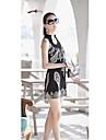 rochie mini femei, poliester negru / alb ocazional / print