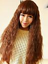 Capless Söt Long Curly högkvalitativa syntetiska ljus gyllenbrun Full Bang Hair Wig