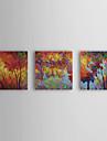 HANDMÅLAD Blommig/Botanisk Duk Hang målad oljemålning Hem-dekoration Tre paneler