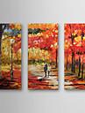 HANDMÅLAD Landskap Duk Hang målad oljemålning Hem-dekoration Tre paneler