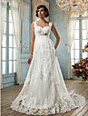 Sheath / Column Square Neck Court Train Tulle Custom Wedding Dresses with Crystal Beading Appliques Sash / Ribbon by LAN TING BRIDE®