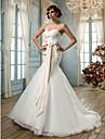 Trompetă / Sirenă In Formă de Inimă Mătura / Trenă Organza Made-To-Measure rochii de mireasa cu de LAN TING BRIDE®