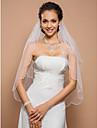 Voal de Nuntă Două Straturi Voaluri Lungime Până la Vârfurile Degetelor Margine dantelată 23.62 în (60cm) Tul IvoriuA-line, Rochie de