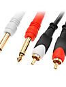 jsj® 1.5m 4.92ft 2x6.35mm singur cale de sex masculin a 2xrca cablu audio de sex masculin