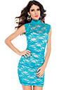 Women's Blue Elegant Floral Mesh Lace Dress(Bust:86-102cm Waist:58-79cm Hip:90-104cm length:85cm)