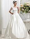 Linia -A / Prințesă Bijuterie Trenă Court Satin / Tulle Made-To-Measure rochii de mireasa cu Mărgele / Pliuri / Nasture de LAN TING BRIDE® / Iluzie / Vezi Prin