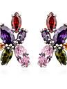 s&v kvinnors blommiga handgjorda zirkonplast örhängen elegant stil