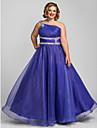 Linha A Assimetrico Longo Organza Baile de Formatura / Evento Formal Vestido com Detalhes em Cristal / Franzido de TS Couture®