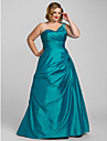 Ball Gown One Shoulder Floor Length Taffeta Prom / Formal Evening / Quinceanera Dress with Beading Side Draping by TS Couture®