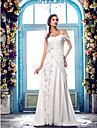 A-Line One Shoulder Sweep / Brush Train Chiffon Custom Wedding Dresses with Beading Appliques Criss-Cross Flower by LAN TING BRIDE®