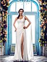 Coloană / Teacă Pe Umăr Mătura / Trenă Șifon Made-To-Measure rochii de mireasa cu Mărgele / Inserție de Dantelă de LAN TING BRIDE®