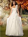 Linia -A Prințesă Pe Umăr Lungime Podea Șifon Rochie de mireasă cu Decorat Flori Ruche de LAN TING BRIDE®