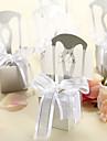 Delicate de argint Catedra cutii de bomboane și titularul cardului cu Organza Bow - Set de 12