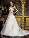 Linha A Decote Princesa Cauda Corte Chiffon Vestidos de noiva personalizados com Micangas Bordado Drapeado Lateral Broche de Cristal em