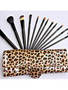 Pro High Quality 12 pc\'er Natural gedehår makeup børste sæt med Leopard Pouch