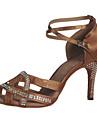 Pentru femei Pantofi Dans Latin / Sală Dans Satin Toc Înalt / Sandale Piatră Semiprețioasă / Cataramă / Decupat Toc Personalizat / Piele