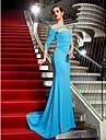 Trompetă / Sirenă Pe Umăr Mătura / Trenă Tricot Seară Formală Bal Militar Rochie cu Detalii Cristal de TS Couture®
