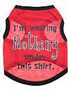 Chien Tee-shirt Vetements pour Chien Lettre et chiffre Rouge Coton Costume Pour les animaux domestiques