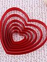 Plastic Red Heart Cookie Cut Mögel Set med 6 st