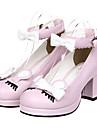 Încălțăminte Clasic/Traditional Lolita Prințesă Toc Înalt Încălțăminte Nod Papion 6.5 CM Roz Negru Galben Pentru PU piele/Piele poliuretan