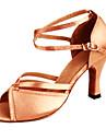 Kadın\'s Saten Latin Dans Ayakkabıları Topuklular Kıvrımlı Topuk Kişiselletirilmemiş Bronz / Deri