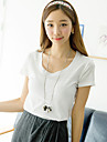 [Pashong] femei guler rotund de bază moale T Shirt