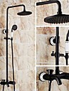 Antique Shower System Ceramic Valve Three Holes Single Handle Three Holes for  Oil-rubbed Bronze , Shower Faucet