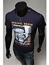 Bărbați gât de moda Slim model scrisoare de imprimare cu maneci scurte T-Shirt