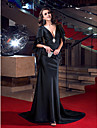 Mermaid / Trumpet Plunging Neckline Sweep / Brush Train Stretch Satin Formal Evening Dress with Crystal Detailing by TS Couture®