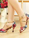 Pentru femei Pantofi Dans Latin / Sală Dans Imitație de Piele Călcâi Cataramă / Flori Toc Personalizat Personalizabili Pantofi de dans