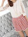 Runda femei gât Organza Stripes Cusătura 3/4 Sleeve șifon Shirt