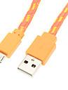 USB2.0 till Micro USB Vävt kabel (orange 100cm)