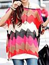 Femei Batwing Sleeve Zigzag Stripe Loose Top Shirt