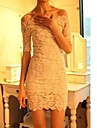 One & Only femei nou stil elegant Bateau Lace solid Culoare Bodycon Dress N6186004