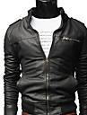 LangTuo Short Type Slim Stand Collar Orsaks Tvätt Locomotive Leather Coat (svart)
