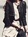 Women's Fashion Leather Zipper Short Slim Jacket Outwear