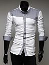 Zian® Men's Shirt Collar Fashion Spell Color Casual Long Sleeve Shirt O