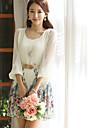 COCO Zhang femei Princess șifon 3/4 Sleeve Floral Print Dress