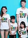 Family\'s Round Collar Colorful Stripe Letter Print Short Sleeve Casual T-shirt