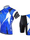 FJQXZ Herr Kortärmad Cykeltröja med shorts - Blå Cykel Klädesset, Snabb tork, UV-Resistent, Andningsfunktion, 3D Tablett