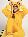 Adults\' Kigurumi Pajamas with Slippers Pika Pika Animal Onesie Pajamas Coral fleece Yellow Cosplay For Men and Women Animal Sleepwear Cartoon Festival / Holiday Costumes