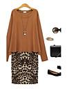 mărime plus leopard de imprimare rochie de femei din două piese