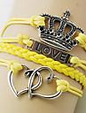 Dam Armband av Remmar Kärlek Handgjord Mode Europeisk Läder Legering Crown Form LOVE Smycken Party Dagligen Casual Kostymsmycken