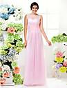 عامودي جوهرة طول الأرض شيفون فستان الاشبينة مع متصالب بواسطة LAN TING BRIDE® / انظر من خلال